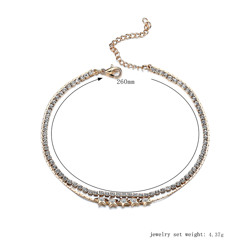Gold Plated Double Layer Little Star Chain Zircon Anklet Jewelry for Women
