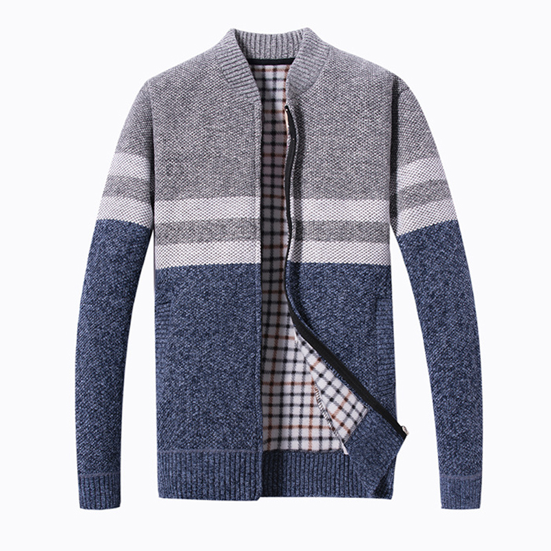 Men Thick Knit Sweater Contrast Color Striped Cardigan
