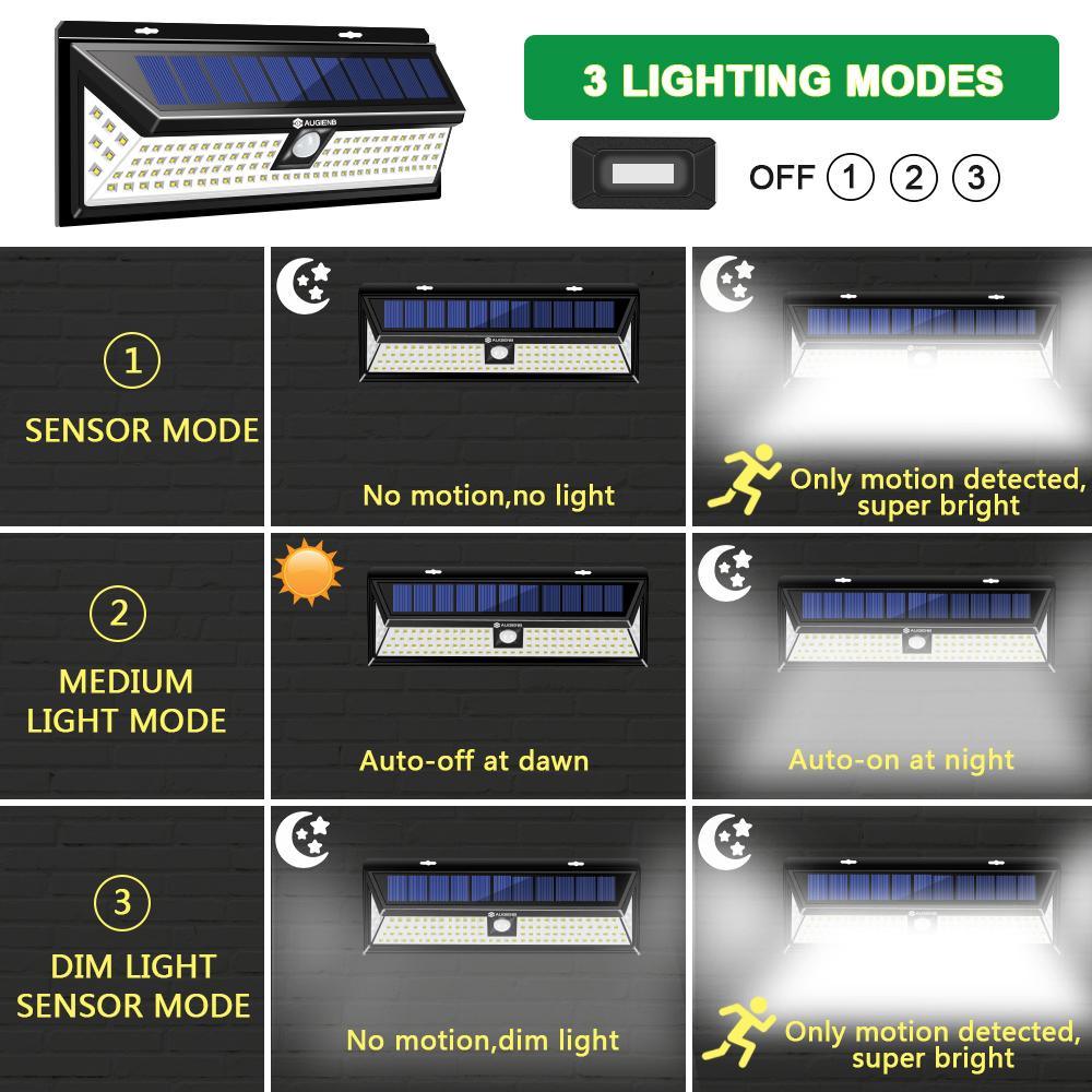 AUGIENB Garden Wall Light 118LED Solar PIR Motion Sensor Outdoor Waterproof Lamp