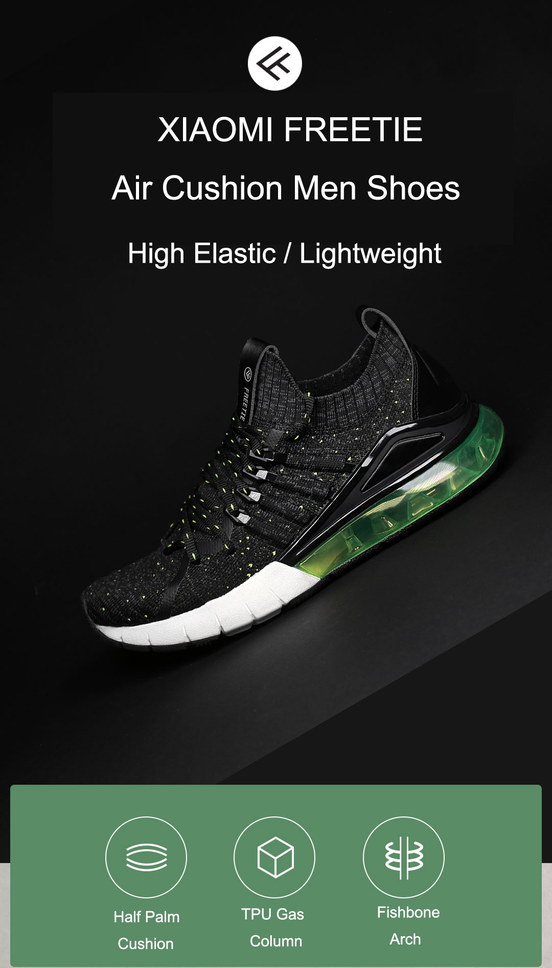 FREETIE Air Cushion Shoes High Elastic Lightweight Men Sneakers Outdoor Sports Running Shoes from xiaomi youpin