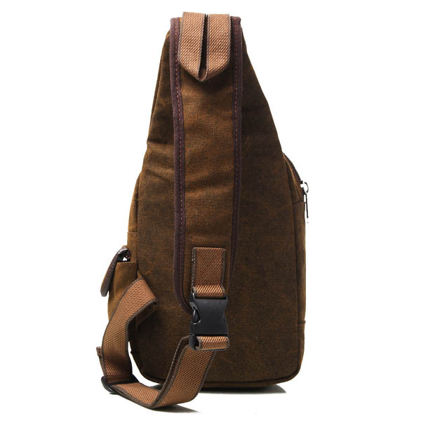 Men Retro Canvas Deep Brown Casual Outdoor Chest Crossbody Bag