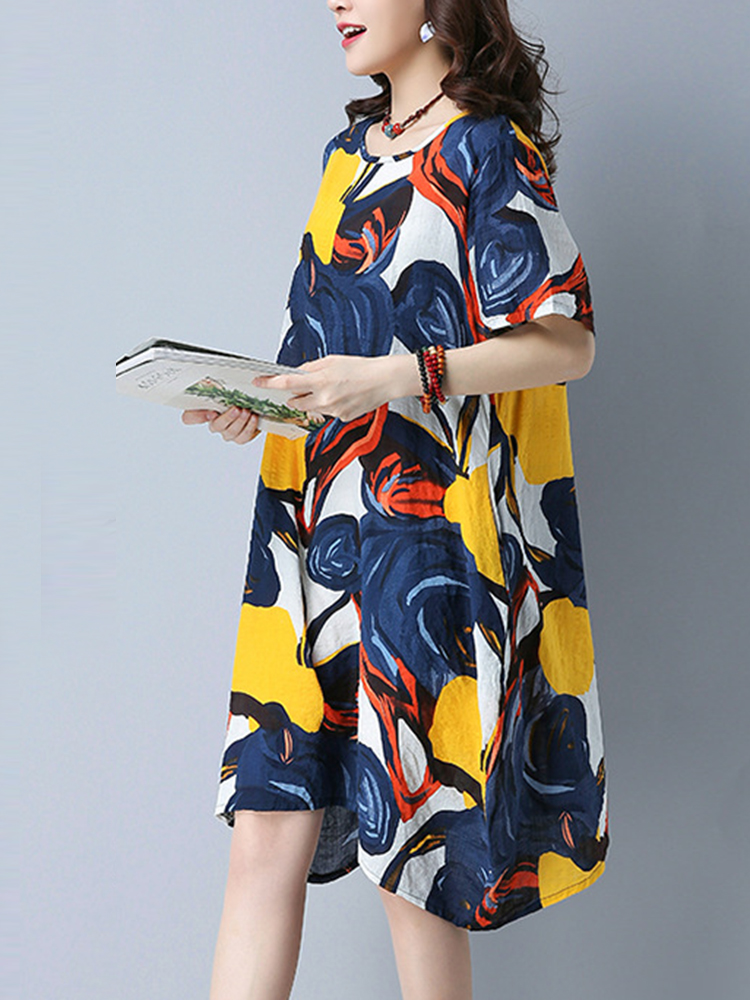 Women Casual Printed O-Neck Dresses Short Sleeve Midi Dress