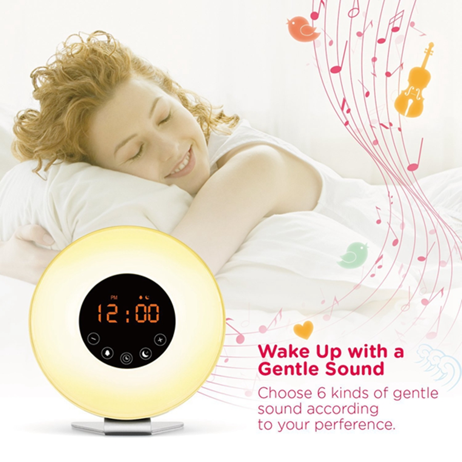 Upgraded 2W Colorful Touch Wake Up Night Light Sunrise Sunset Simulation with Alarm Clock & FM Radio