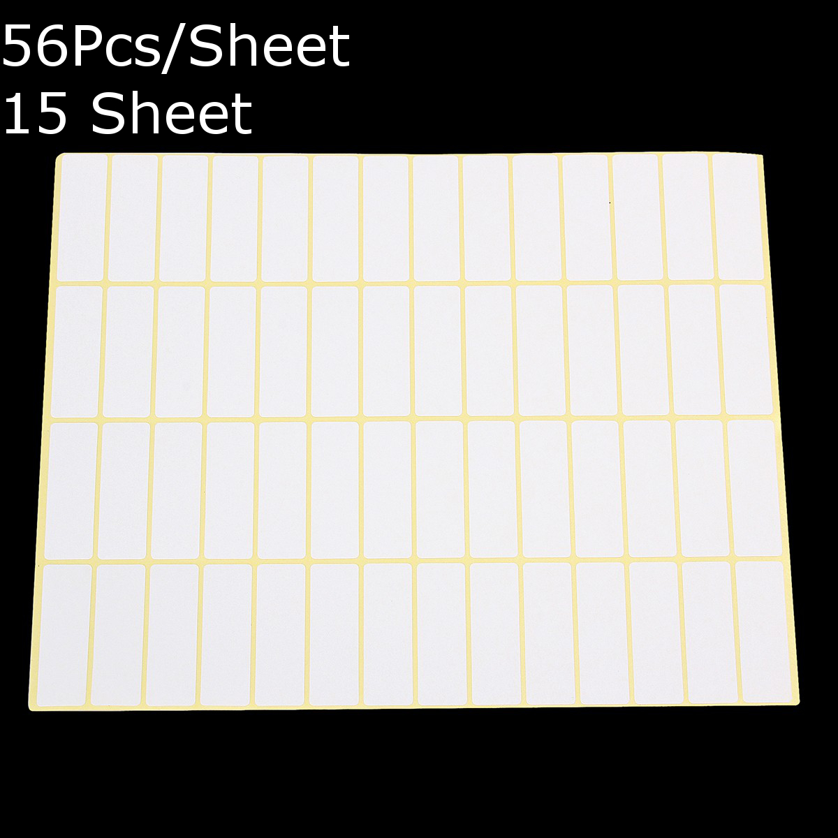 56Pcs/Sheet Blank Sticky Labels 13x38MM White Price Stickers Tags 15 Sheets