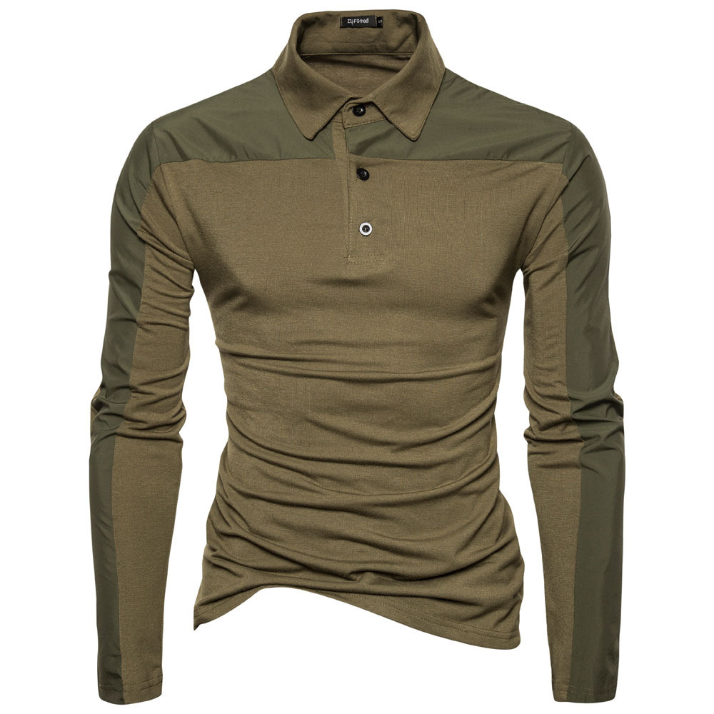 Spring Men Cotton Solid Color Long Sleeve Golf Shirts