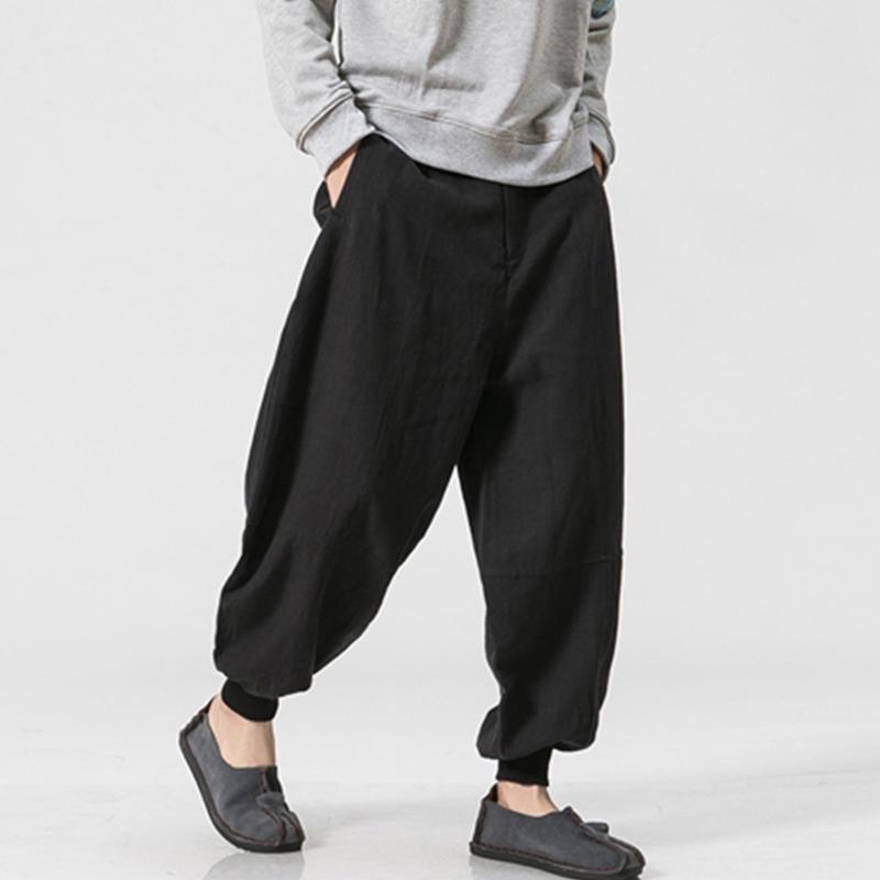 Mens 100% Cotton Loose S-5XL Comfy Bagggy Harem Pants