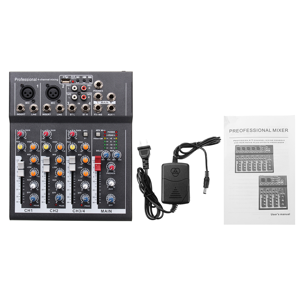 Portable 4 Channel USB Audio Mixer bluetooth Live Stage Audio Mixing Console