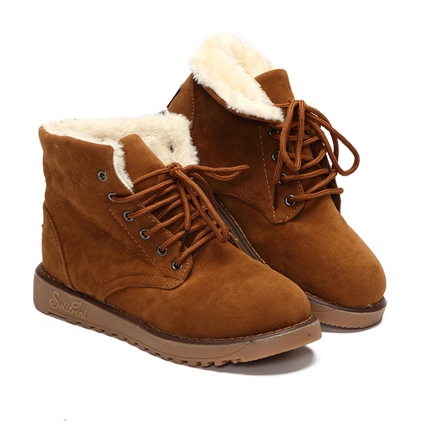 Women Casual Lace Up Plush Suede Round Toe Ankle Boots