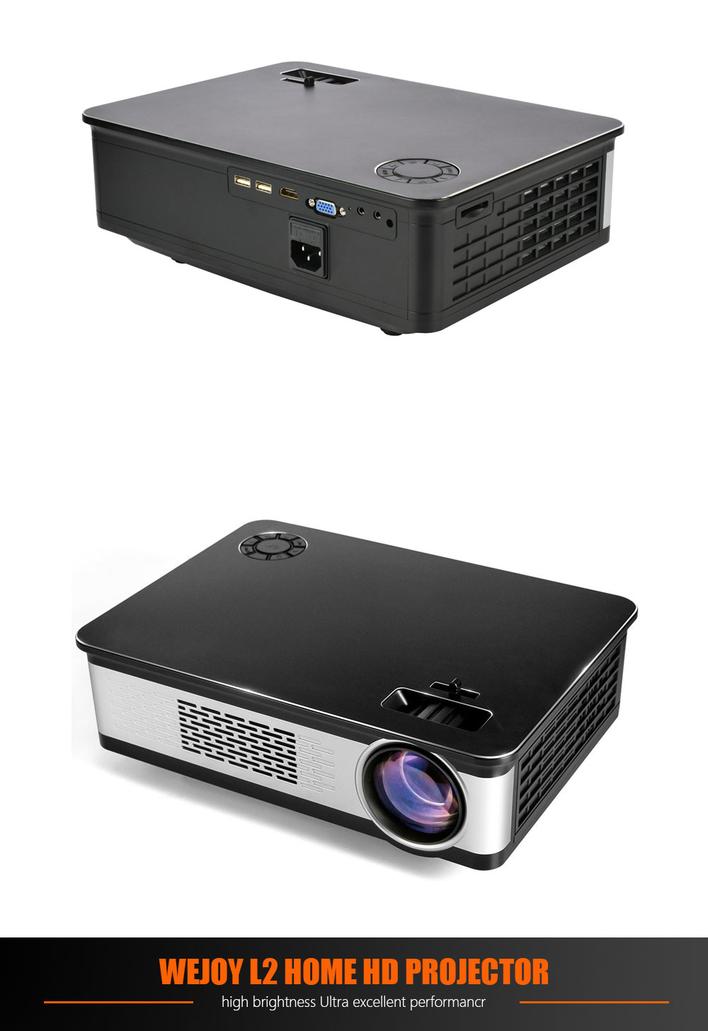 Wejoy L2 LCD Projector LED 3300 Lumens 300ANSI 1280 x 800 Built-in Speaker HD Home Theater