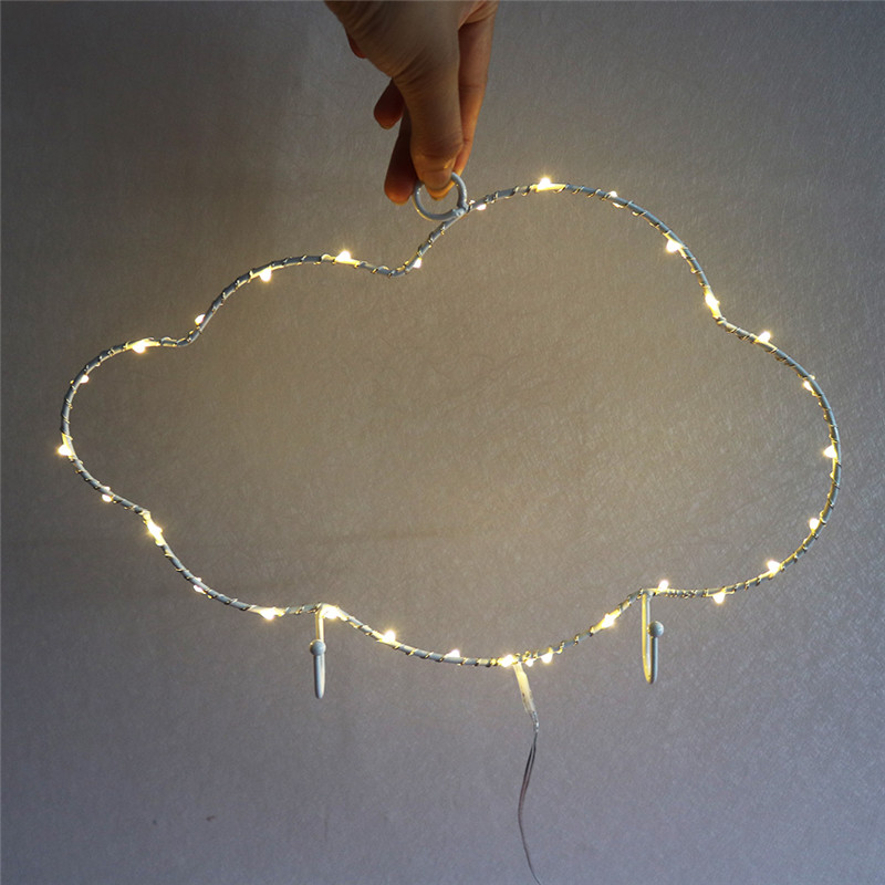 LED Vintage Iron Cloudy Night Light On Wall Simple Fashion Lamps Lights Indoor Decoration For Party Led String Lights For Christmas Wedding Festoon Party Decorative Christmas 3D LED Lights