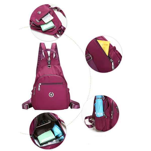 Women Nylon Light Chest Bags Outdoor Shoulder Bags Sports Backpack
