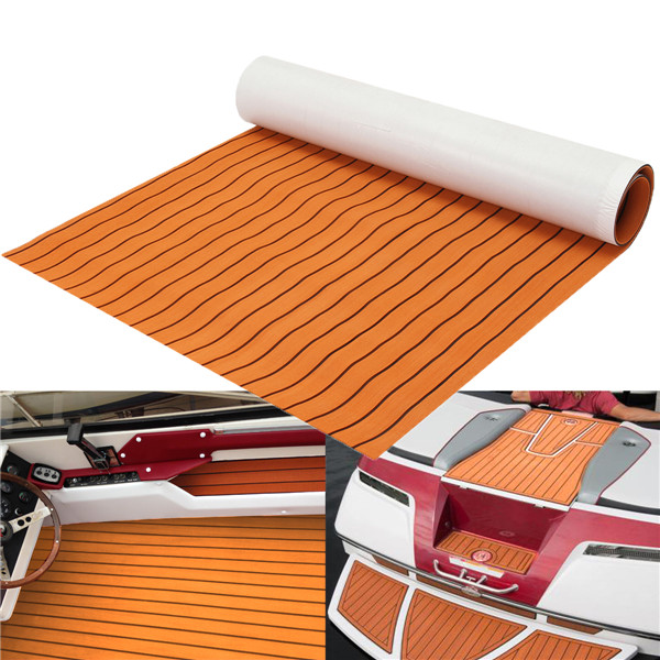 1200x2000x6mm EVA Foam Sheet Orange with Black Line Teak Synthetic Boat Decking Pad