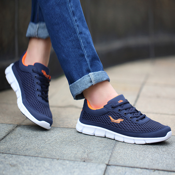 Men Sport Shoes Outdoor Mesh Breathable Comfortable Casual Lace-Up Athletic Shoes