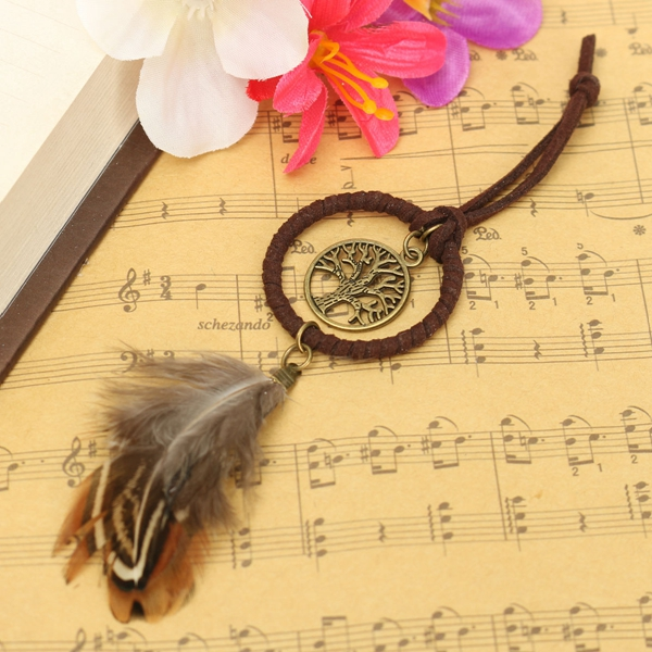 Handmade Life Tree Feather Bag Keyring Pendant Accessory Keychain