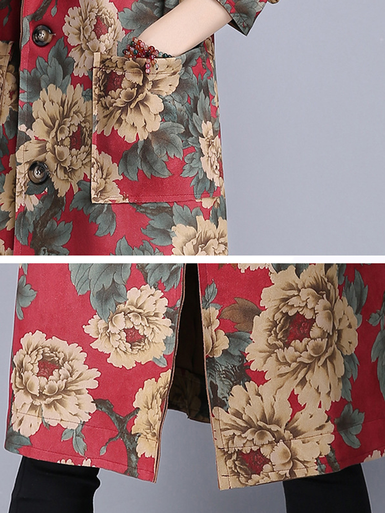 Vintage Chinese Style Printed Loose Long Trench Coat