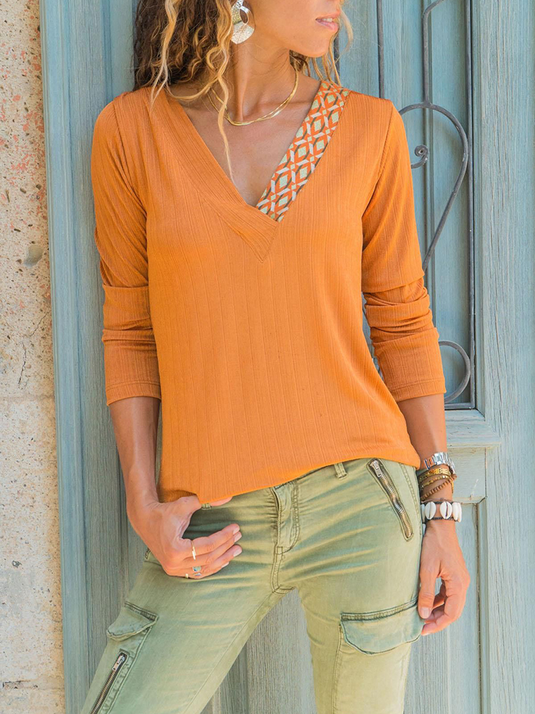 Pure Color Patchwork V-neck Long Sleeve T-shirts