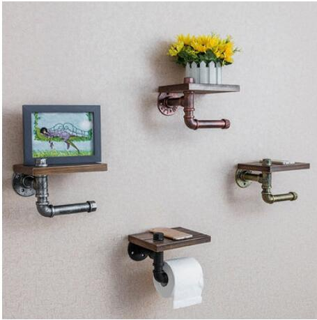 Iron Pipe Toilet Paper Holder Roller Vintage Industrial Style Wall Wood Shelf