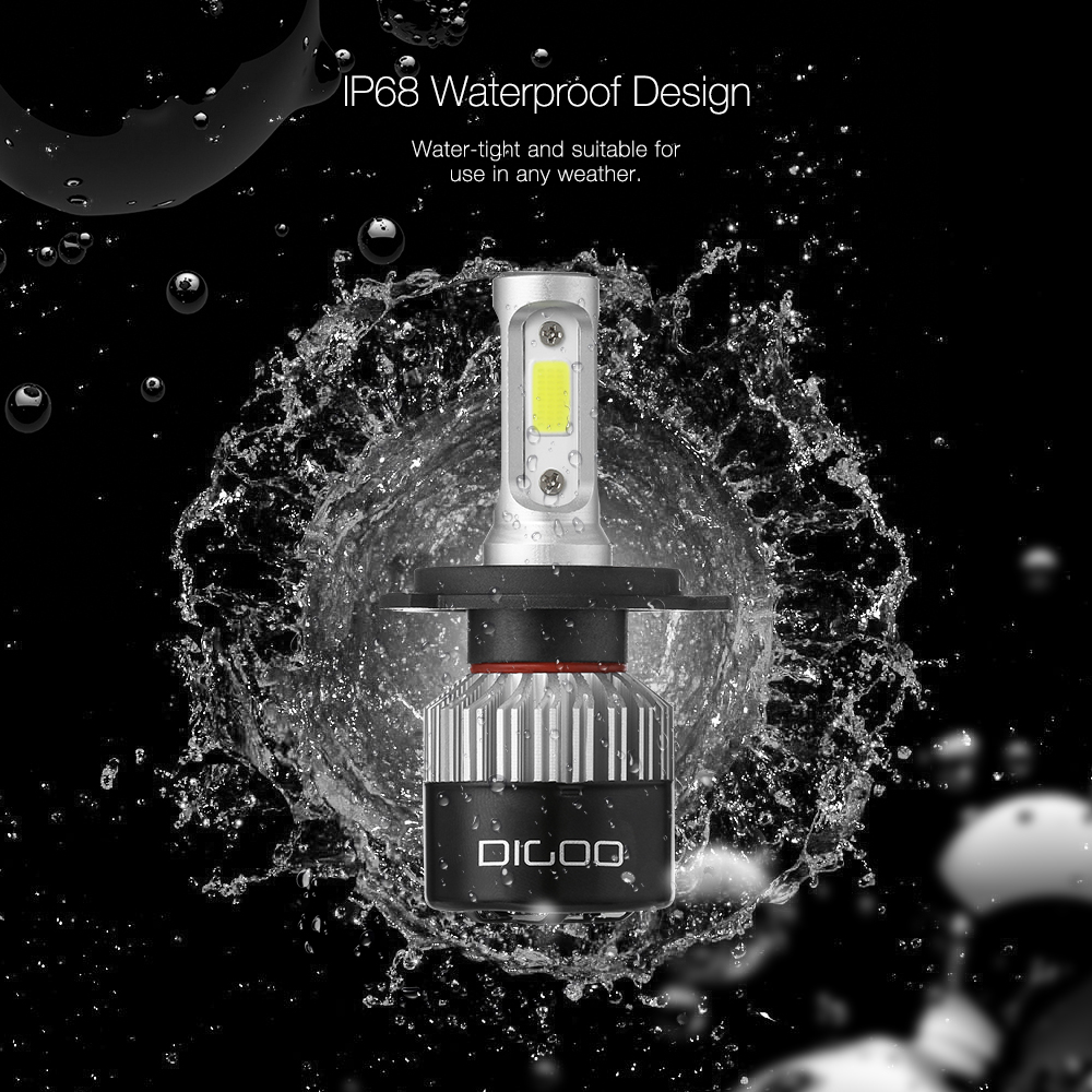 Digoo DG-S2 Car LED Headlights Bulbs H4 H7 High Low Beam Fog Lamps 72W 9000LM IP68 6500K White 2PCS PK Nighteye S2