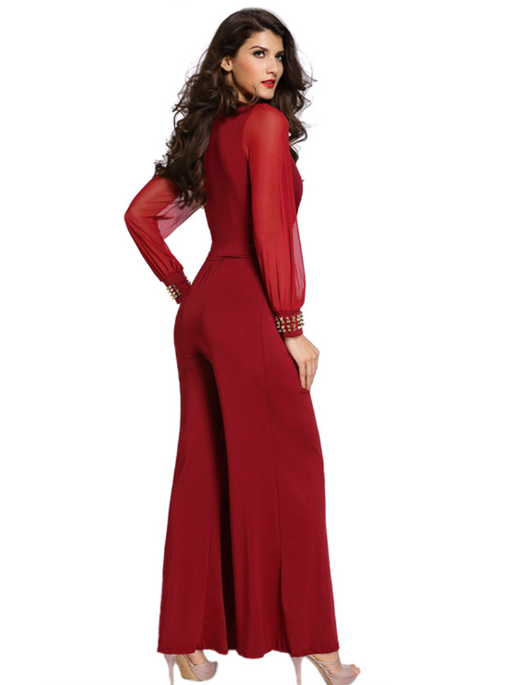 Sexy Work Mesh Long Sleeve V-Neck Women Bell Bottoms Wide Leg Jumpsuit