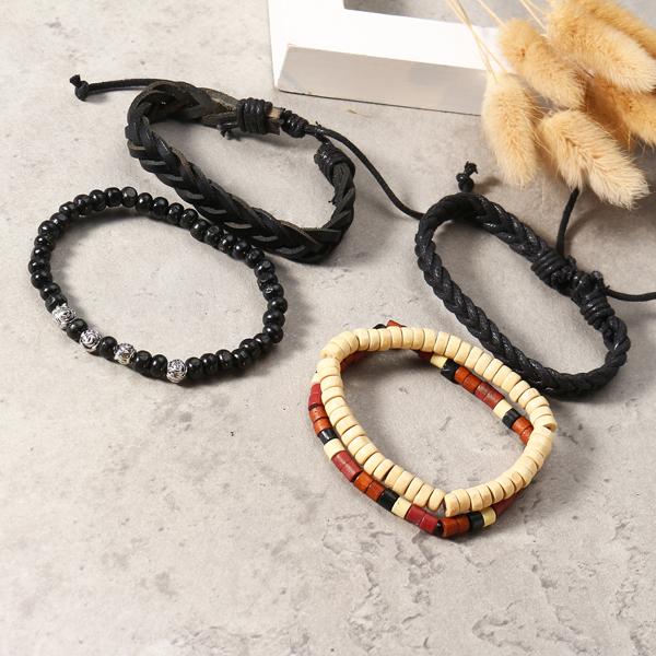 Vintage Leather Bracelet Weave Braided Multilayer Adjustable