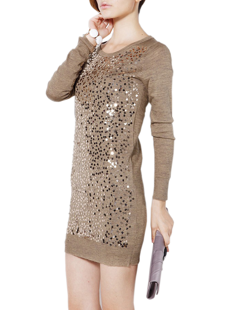 Slim Sequins Long Sleeve Round Neck Mini Dress