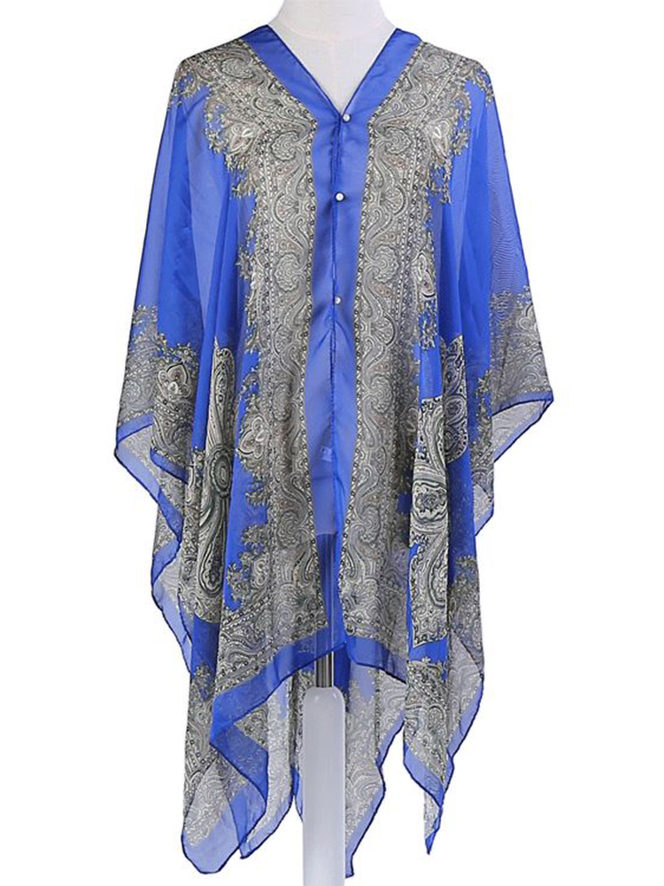 Women Multi-color Lightweight Beach Shawl with Button