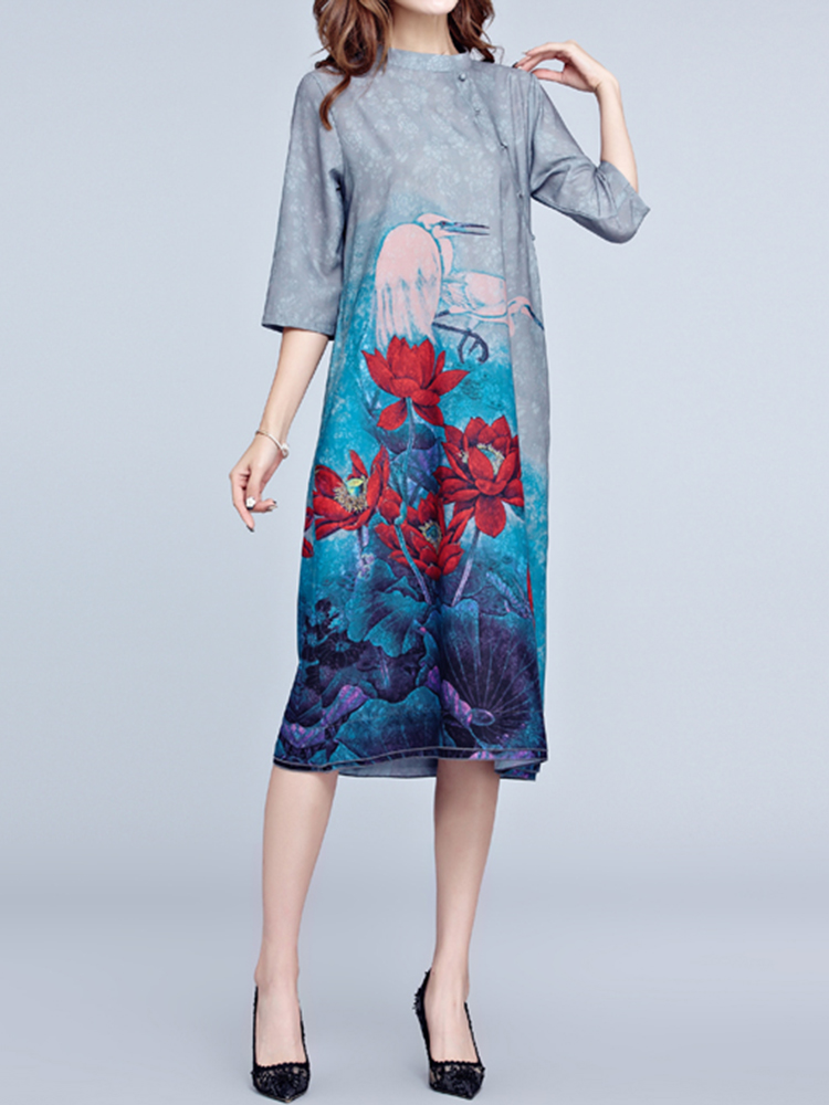 Women Lotus Print Stand Color 3/4 Sleeve Dresses