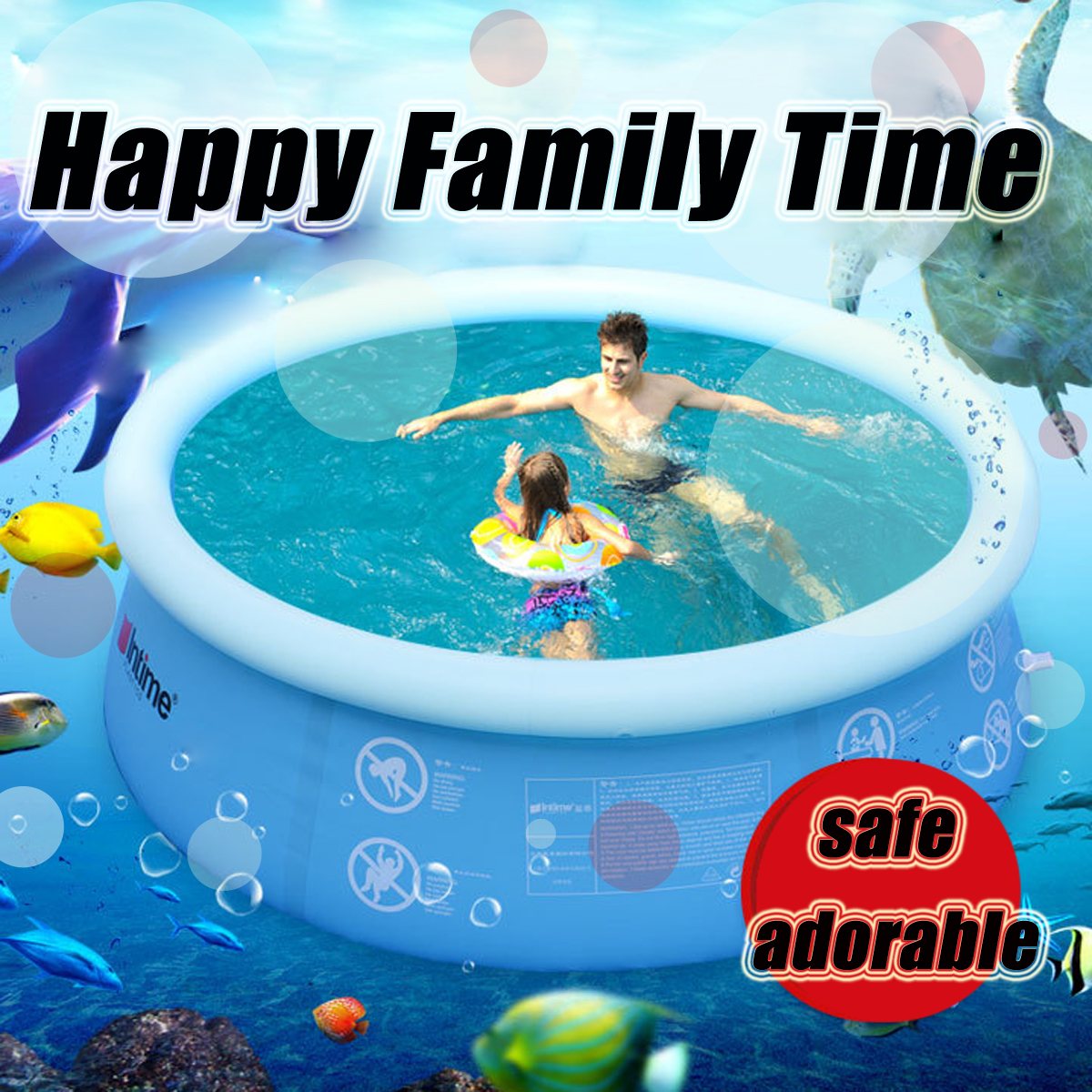 4 10ft Inflatable Swimming Pool Family Garden Outdoor Indoor Party Kids Playing