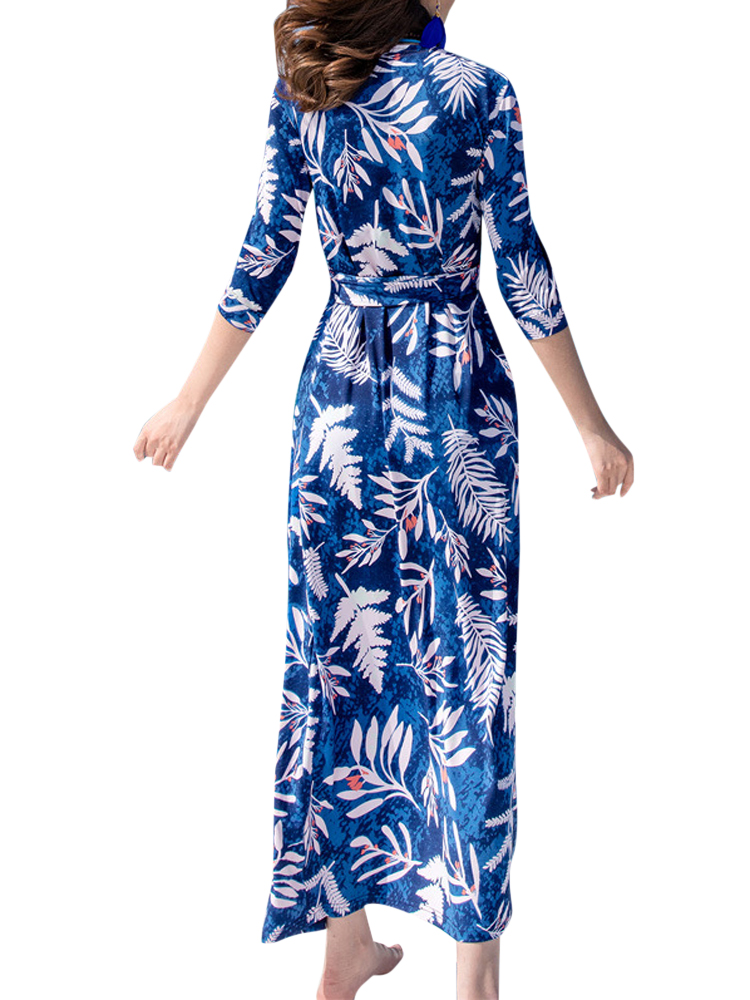 Sexy Women Floral Printed Slit Bandage V-neck Maxi Dress