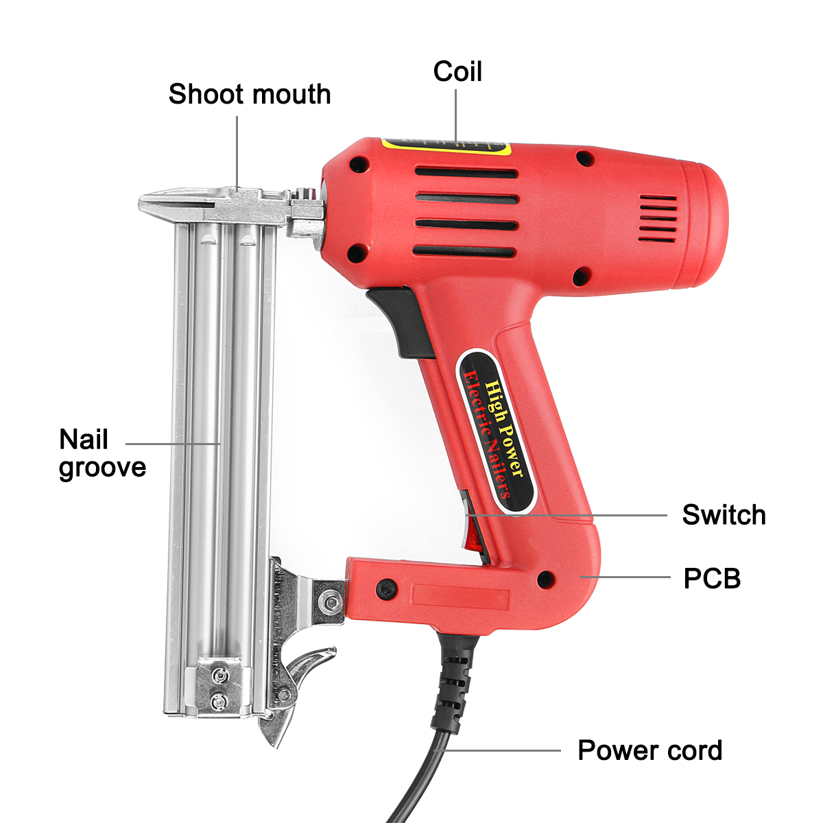 1800W 220V F30 Corded Electric Nailer Stapler Kit Electric Stapler 10-30 MM Straight Nail