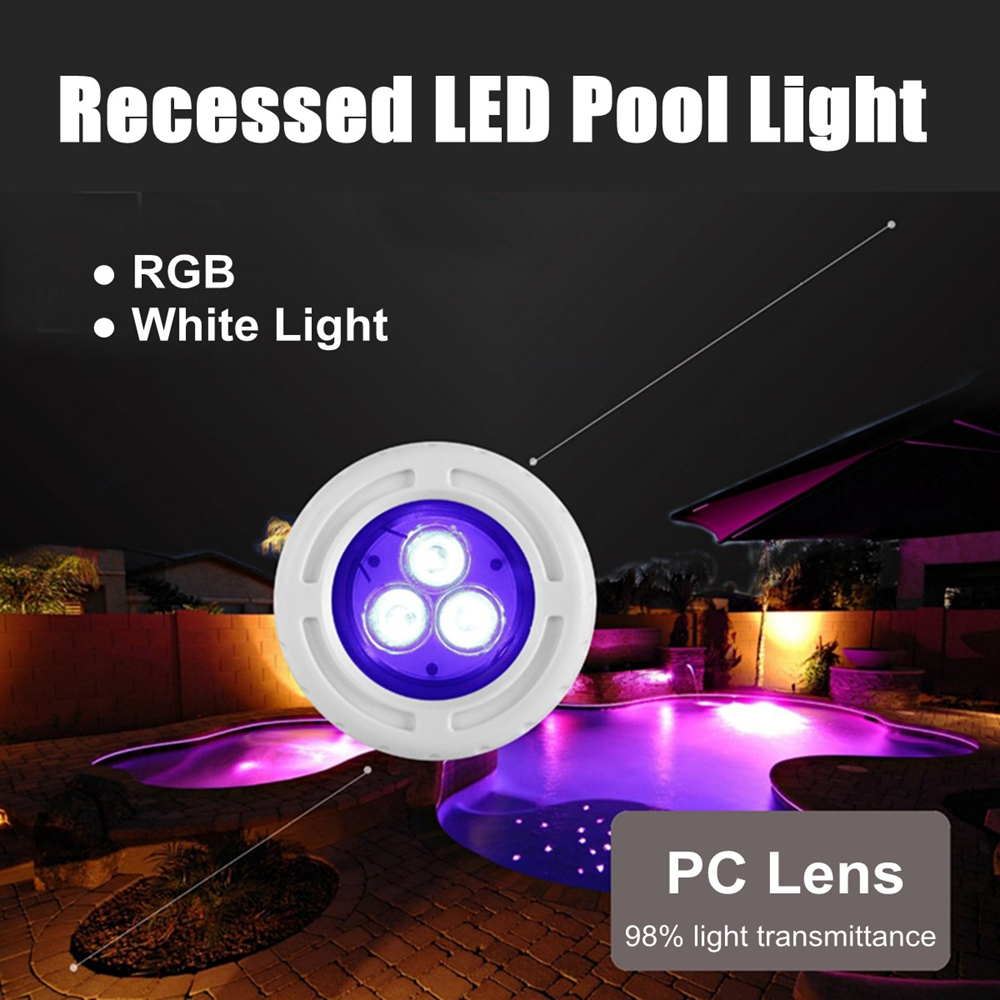 6W AC12V 3 LED Recessed Swimming Pool Light Spa RGB White Fountain Night Lamp