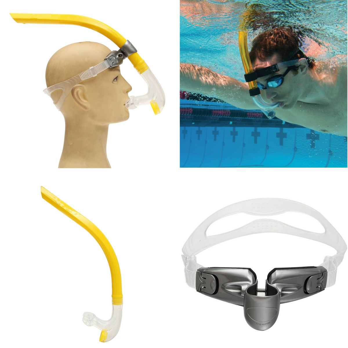 Swimmer's Snorkel Silicone Air-Ease Center Front-mount Swimming Training Snorkel Tools