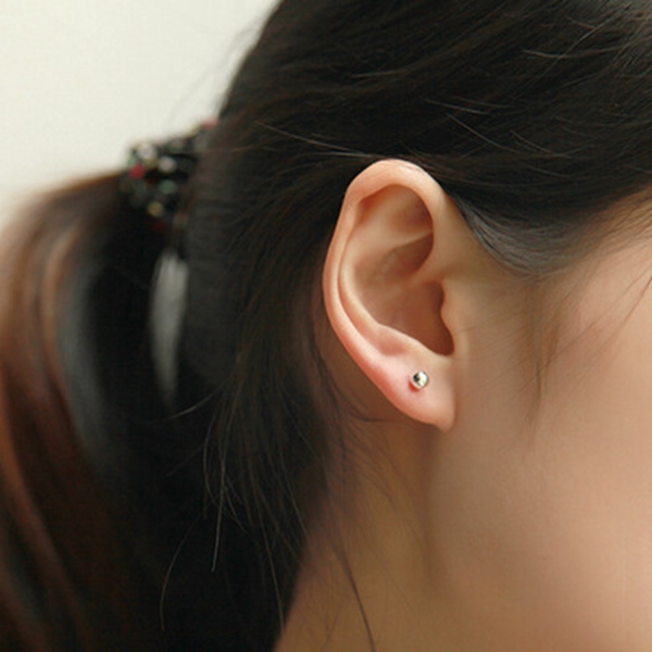 1pc Trendy 999 Sterling Silver Round Bead Ear Stud Earring