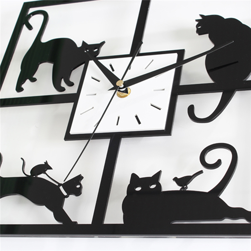 Four Cat Pattern Acrylic Wall Clock Black Quartz Bedroom Living Room