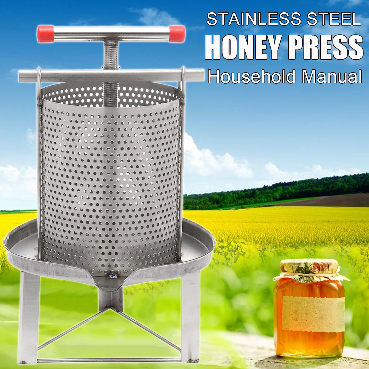 Stainless Steel Manual Bee Honey Press Household Wax Pressing Machine Beekeeping Tools Set