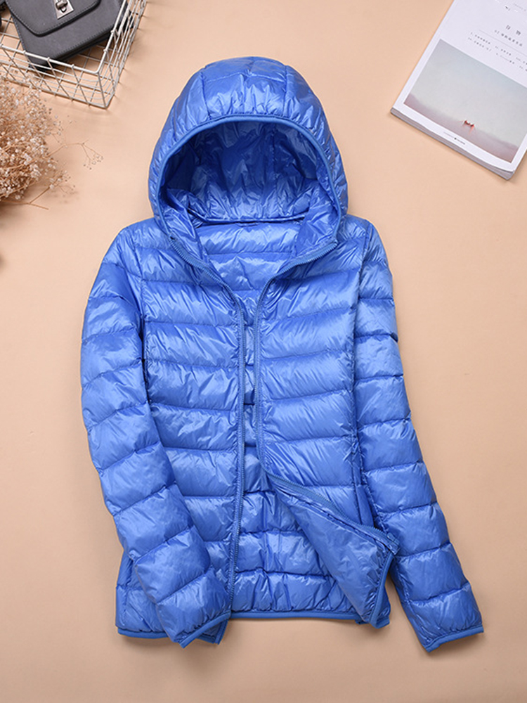 Casual Women Zip Up Hooded Jacket