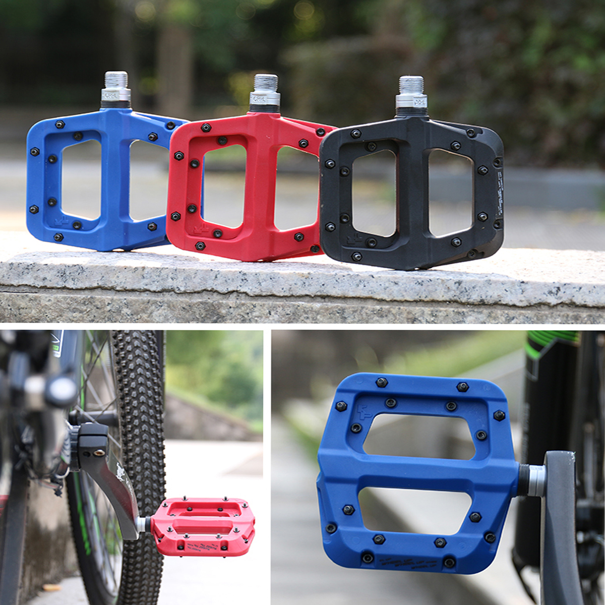 WHEEL UP 9/16 Nylon Fiber Bicycle Pedals with 3 Bearings Ultralight Non-slip Flat Platform Pedals