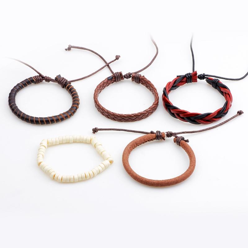Unisex Adjustable Leather Wax Rope Multilayer Bead Bracelet
