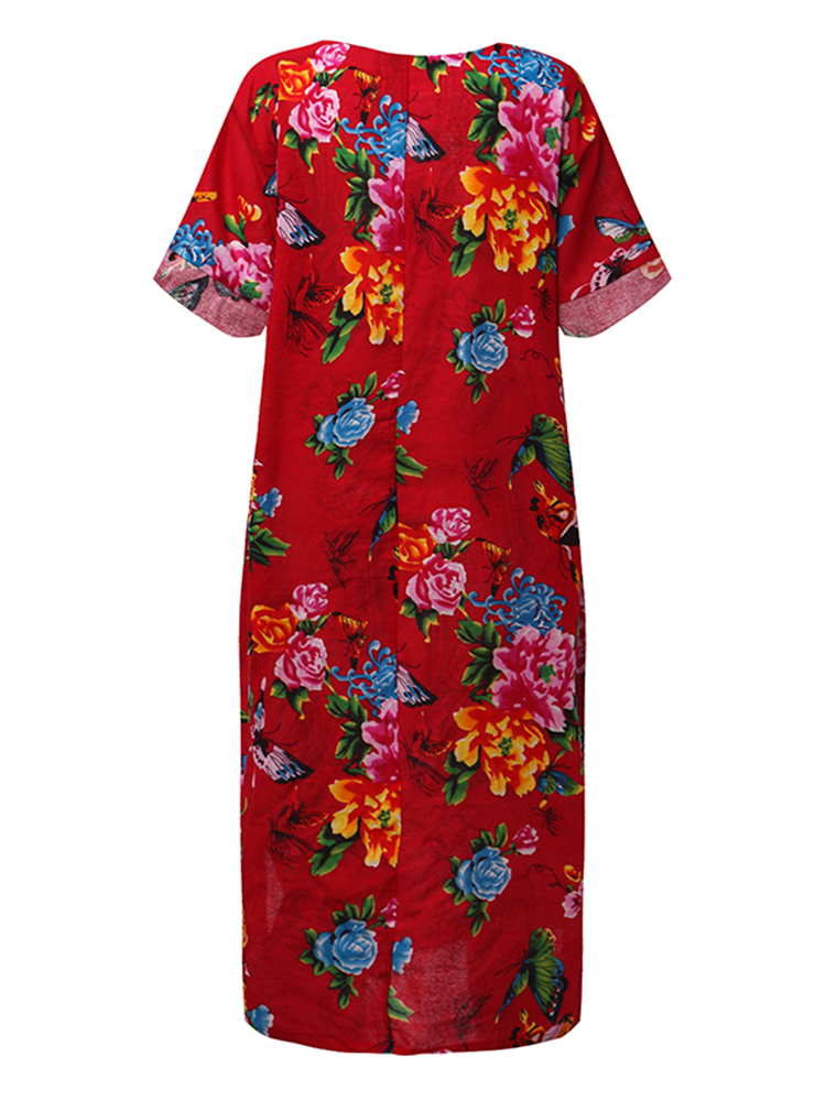 Ethnic Floral Print Batwing Sleeve Baggy Maxi Dress For Women