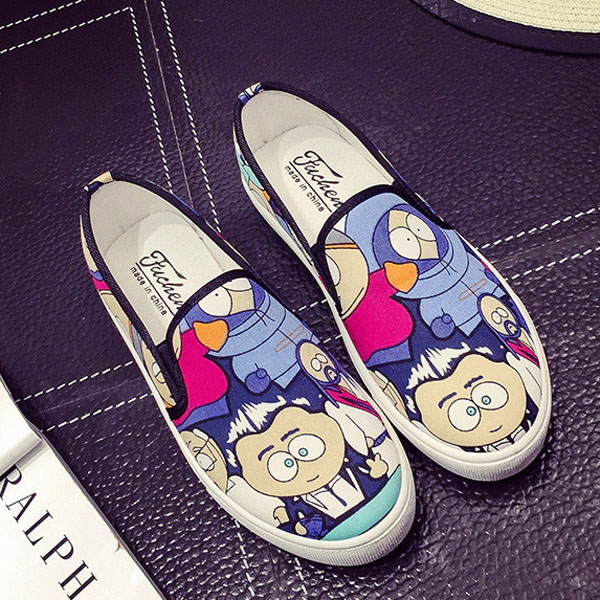 Women Canvas Shoes Casual Outdoor Slip On Comfortable Cartoon Flat Loafers