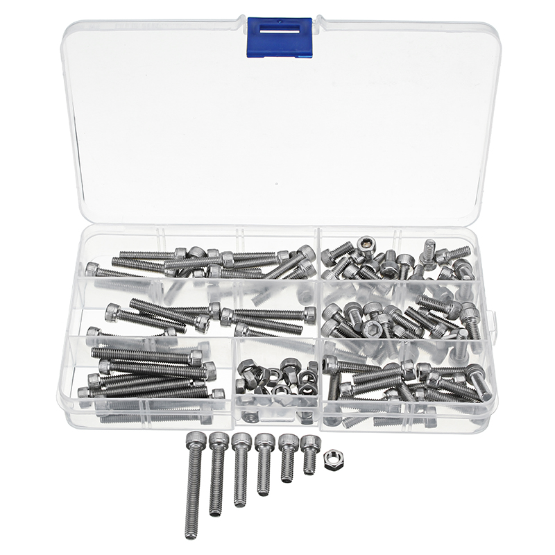 Suleve™ M5SH3 110Pcs M5 Stainless Steel 10-40mm Hex Socket Cap Screw Allen Bolt Assortment Kit