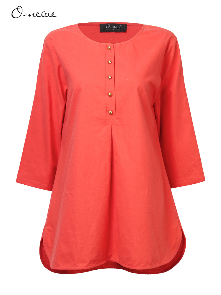 O-NEWE Casual Women Plus Size Button Split High Low Blouse
