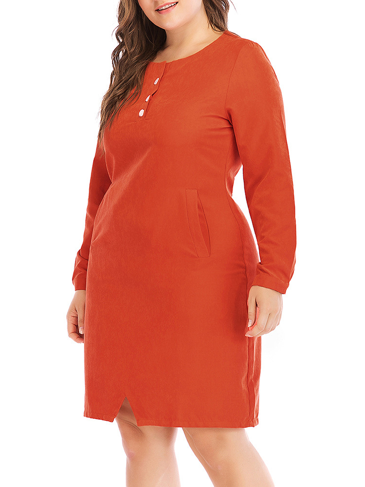 Plus Size Women Long Sleeves Solid Color Work Style Dress