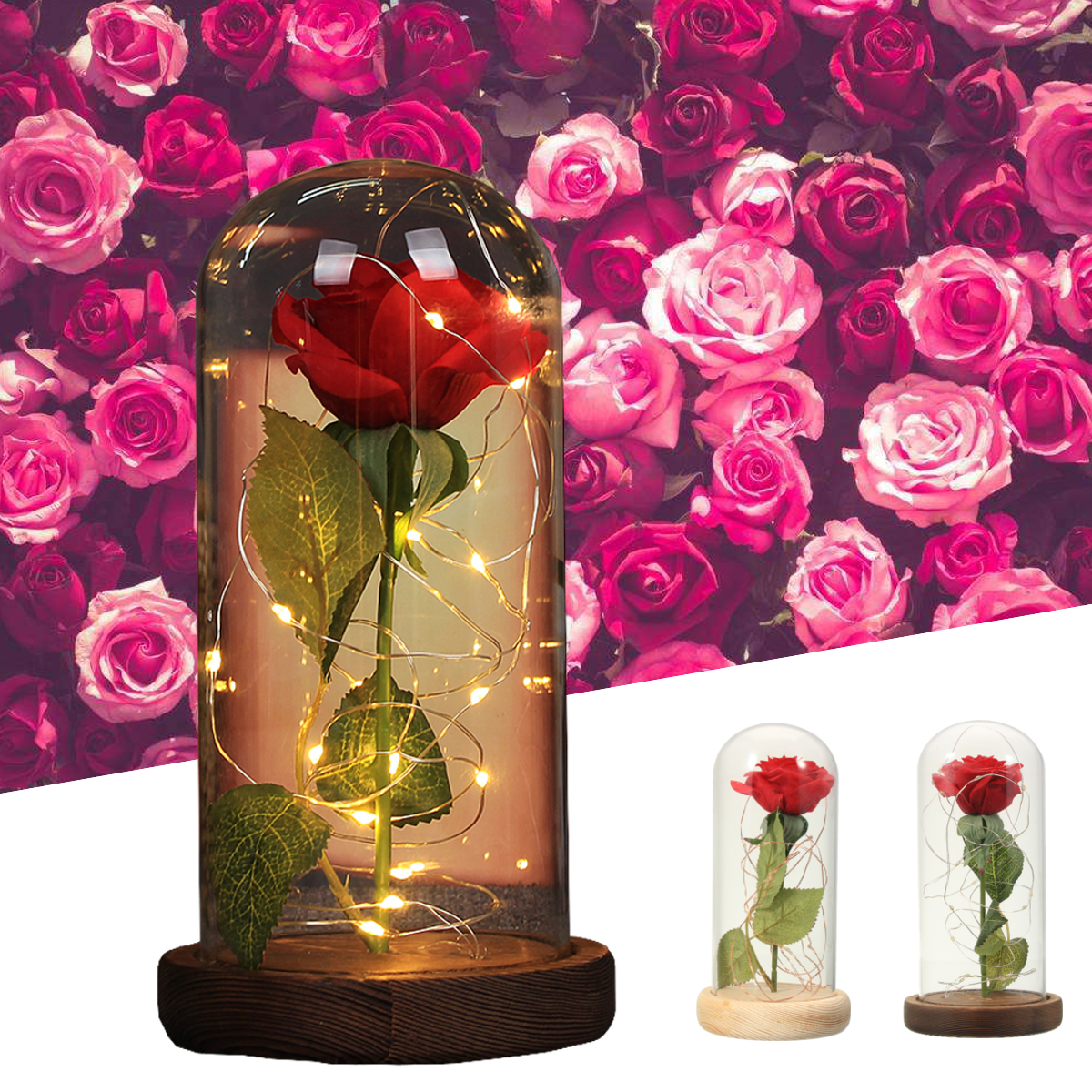 Red Rose Lights Decorations Beauty Enchanted Preserved Red Fresh Rose Glass Cover with LED Light