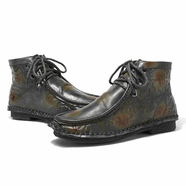 Pattern Genuine Leather Ankle Vintage Boots For Women