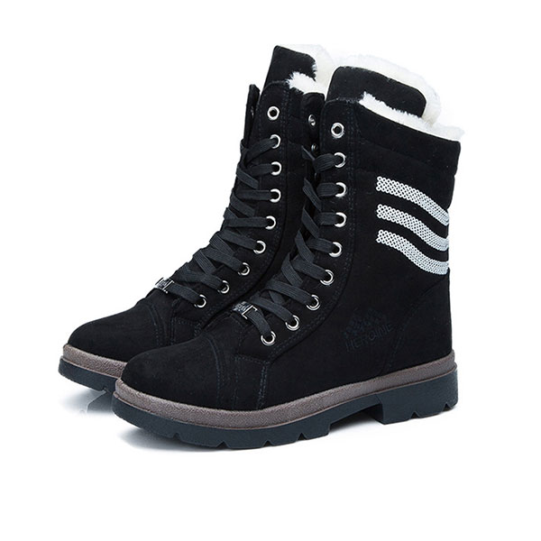 Women Winter Snow Boots High Top Plush Cotton Casual Shoes Mid-calfLace-Up Boots