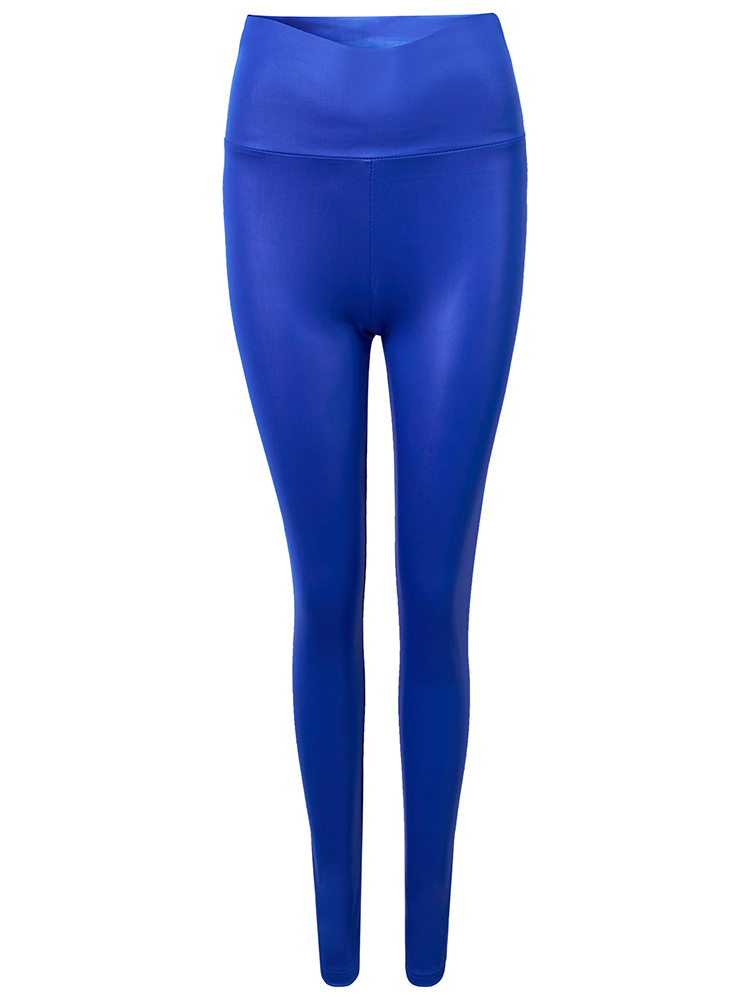 Sexy Solid Color PU High Waist Stretch Legging For Women
