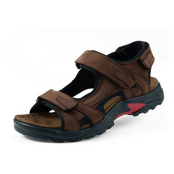 US Size 6.5-11 Men Summer Leather Sandals Breathable Comfortable Casual Beach Leisure Shoes