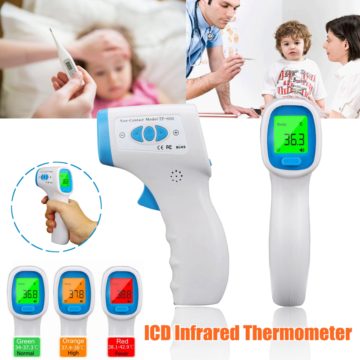 Forehead Infrared Thermometer LCD Digital Non-Contact