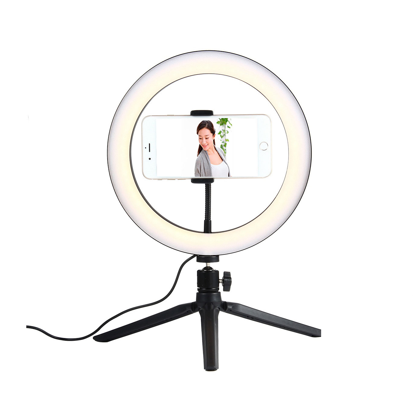 10 Inch LED Dimmable 3200K-5500K Video Ring Light with Phone Clip Tripod Head Mini Tripod